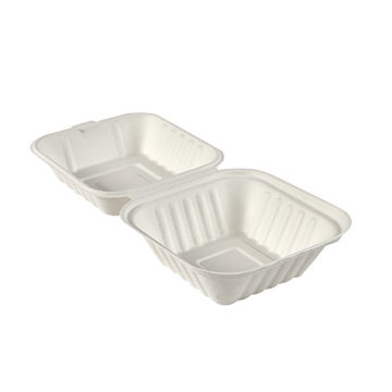 """Picture of 6"""" Square Bagasse Clamshells (8x50)"""