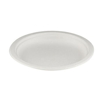 """Picture of 7"""" White Bagasse Plates (10x50)"""