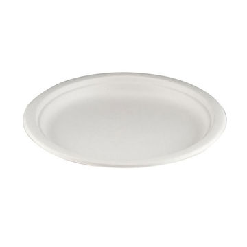 """Picture of 9"""" White Bagasse Plate (10x50)"""